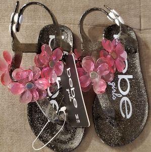 Bebe Girls black floral sandals (Brand New)